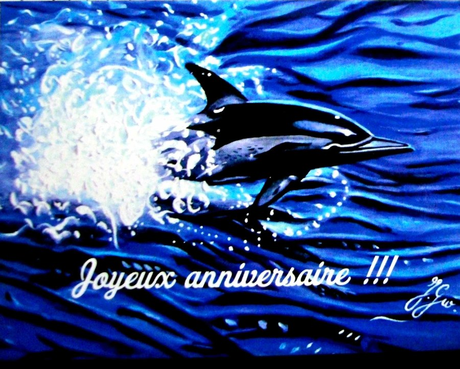 Carte anniversaire dauphins