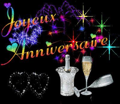 Carte anniversaire champagne animée