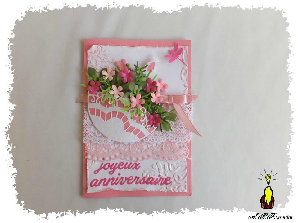 Carte anniversaire fleuri