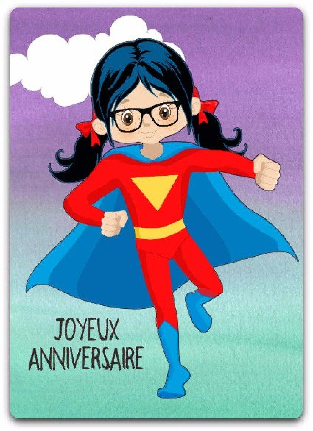 Carte anniversaire super heroine