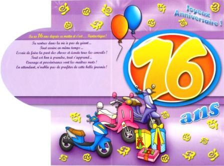 Carte anniversaire 16 ans fille gratuite à imprimer