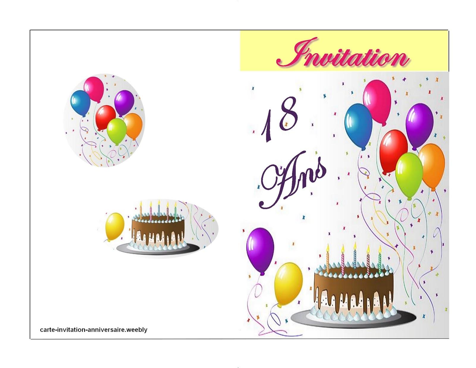Carte anniversaire gratuite à imprimer 18 ans garcon