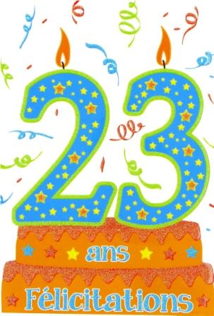 Carte anniversaire 23 ans humour