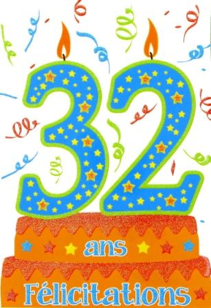 Carte anniversaire 32 ans homme