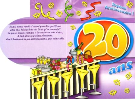 Carte anniversaire à imprimer 20 ans