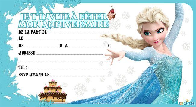 Carte joyeux anniversaire reine des neiges