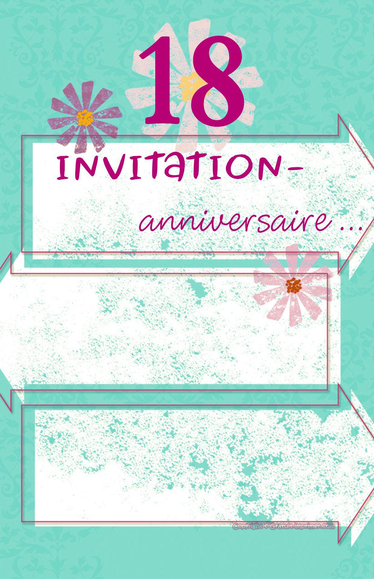 Carte anniversaire femme 18 ans gratuite à imprimer