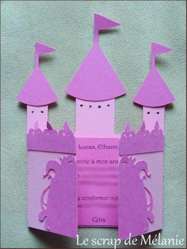 Chateau princesse carte anniversaire