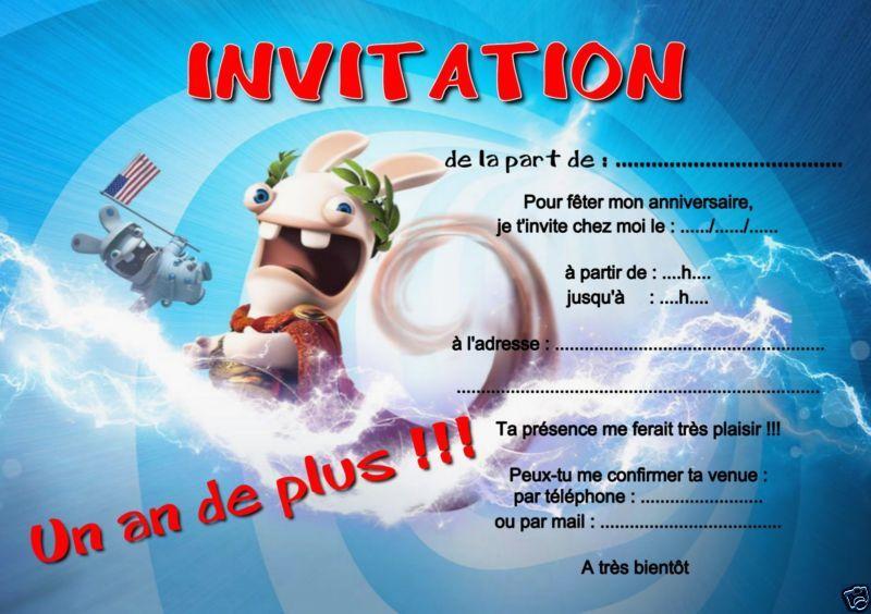 Carte invitation anniversaire lapin crétin