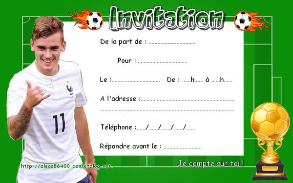 Carte d'invitation anniversaire foot gratuite à imprimer