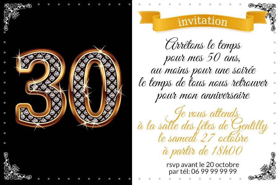 Carte d invitation anniversaire 30 ans gratuite