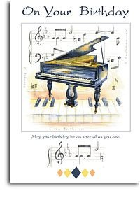 Carte anniversaire avec piano