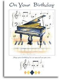 Carte anniversaire musicale piano