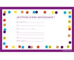 Carte invitation anniversaire fille à imprimer gratuit