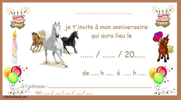 Carte anniversaire sur le cheval
