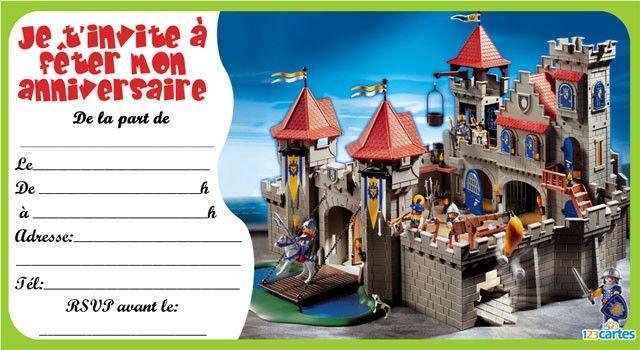 Modele carte invitation anniversaire gratuite imprimer chevalier