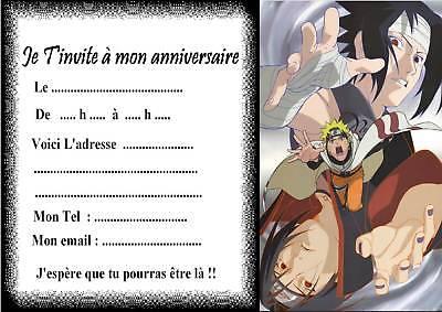 Carte d'invitation anniversaire naruto à imprimer