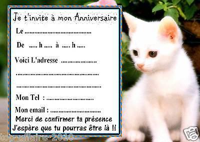 Carte d'invitation anniversaire chatons