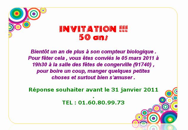 Message pour invitation anniversaire 50 ans