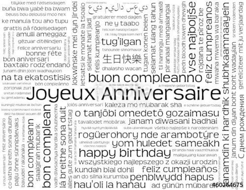 Carte anniversaire dans toutes les langues