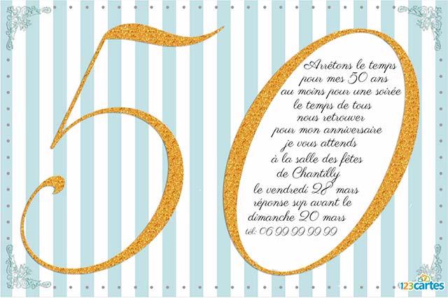 Texte anniversaire pour invitation 50 ans