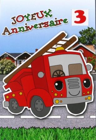 Carte anniversaire pour homme thème sapeurs pompiers
