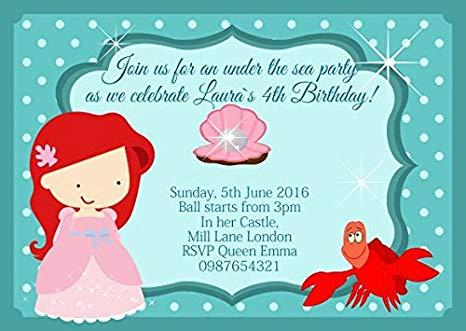 Carte invitation anniversaire la petite sirène