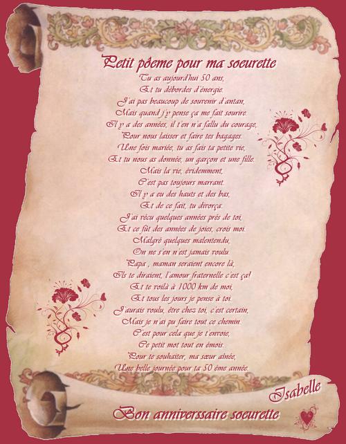 Texte anniversaire soeur poeme