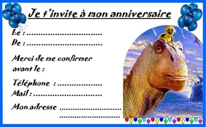 Carte invitation anniversaire à imprimer gratuite dinosaure