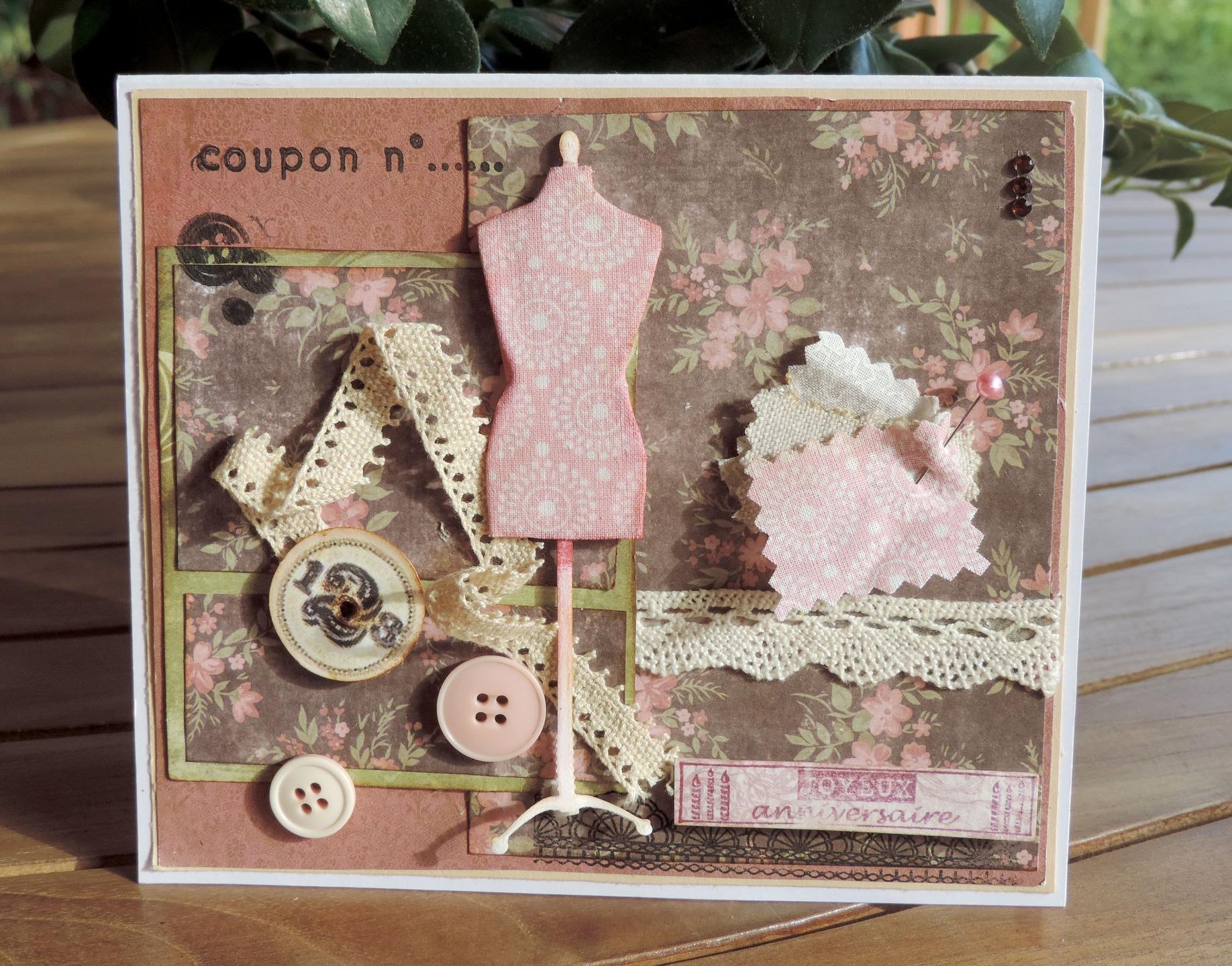 Carte joyeux anniversaire couture