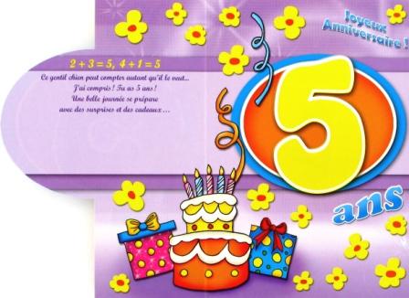 Message anniversaire fille 5 ans