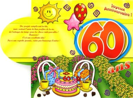 Carte anniversaire 60 ans femme gratuite