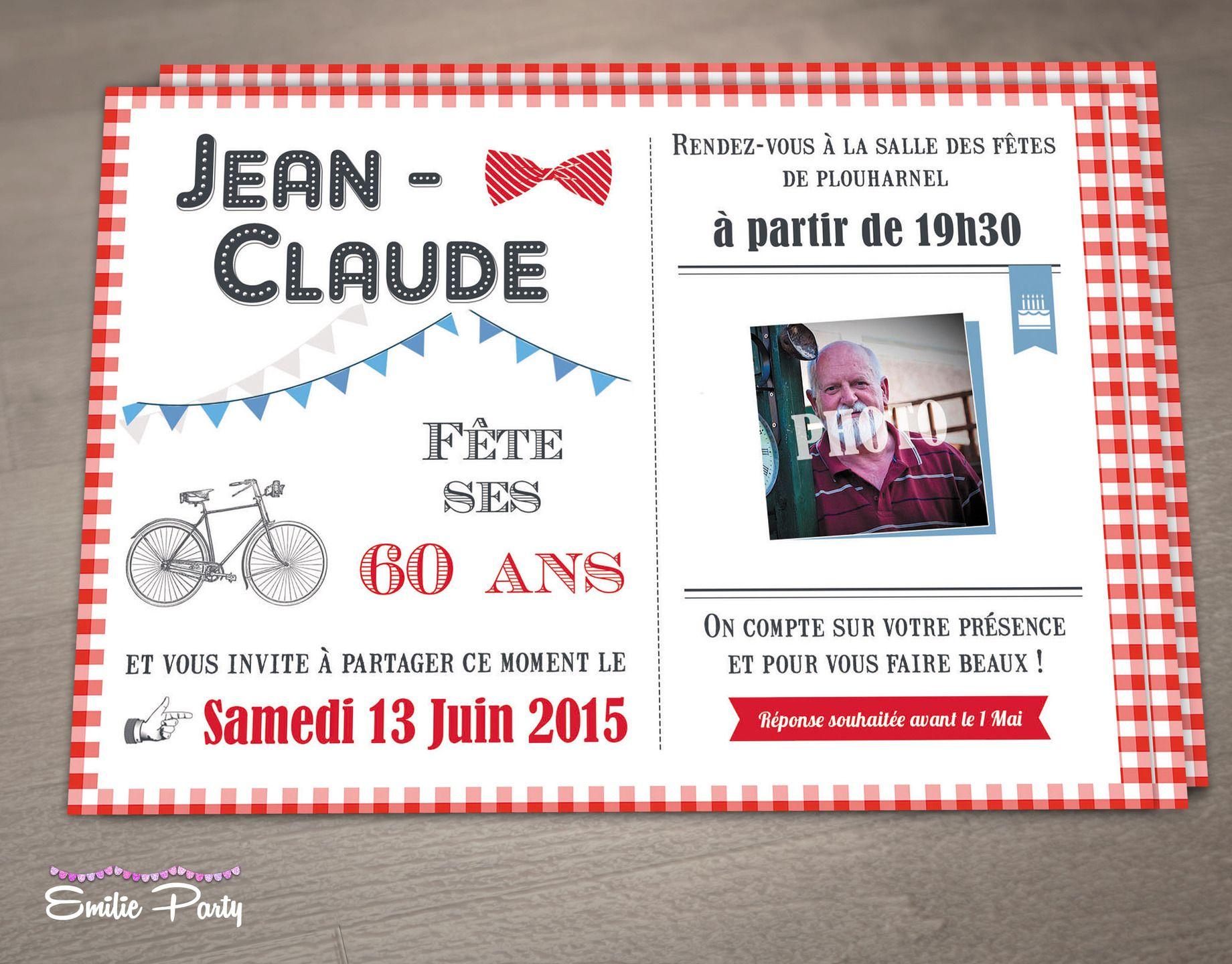 Carte invitation anniversaire theme guinguette