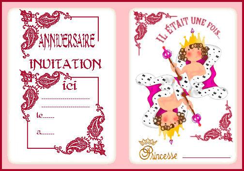 Carte d'invitation anniversaire pour fille princesse