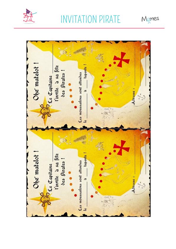 Carte invitation anniversaire pirate gratuite à imprimer