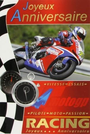 Carte anniversaire avec moto