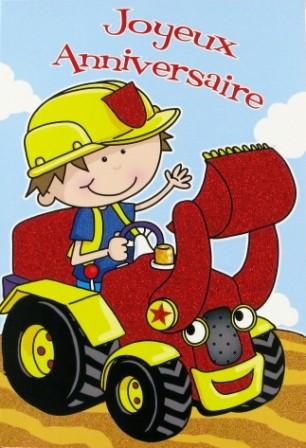 Carte anniversaire enfant tracteur