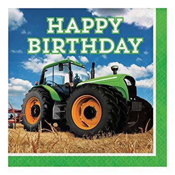 Carte anniversaire virtuelle avec tracteur