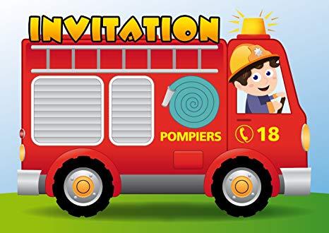 Carte d'invitation anniversaire pompier