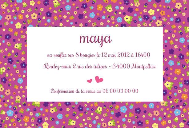 Carte d'invitation anniversaire fille de 8 ans
