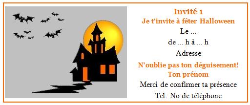 Carte invitation anniversaire theme halloween