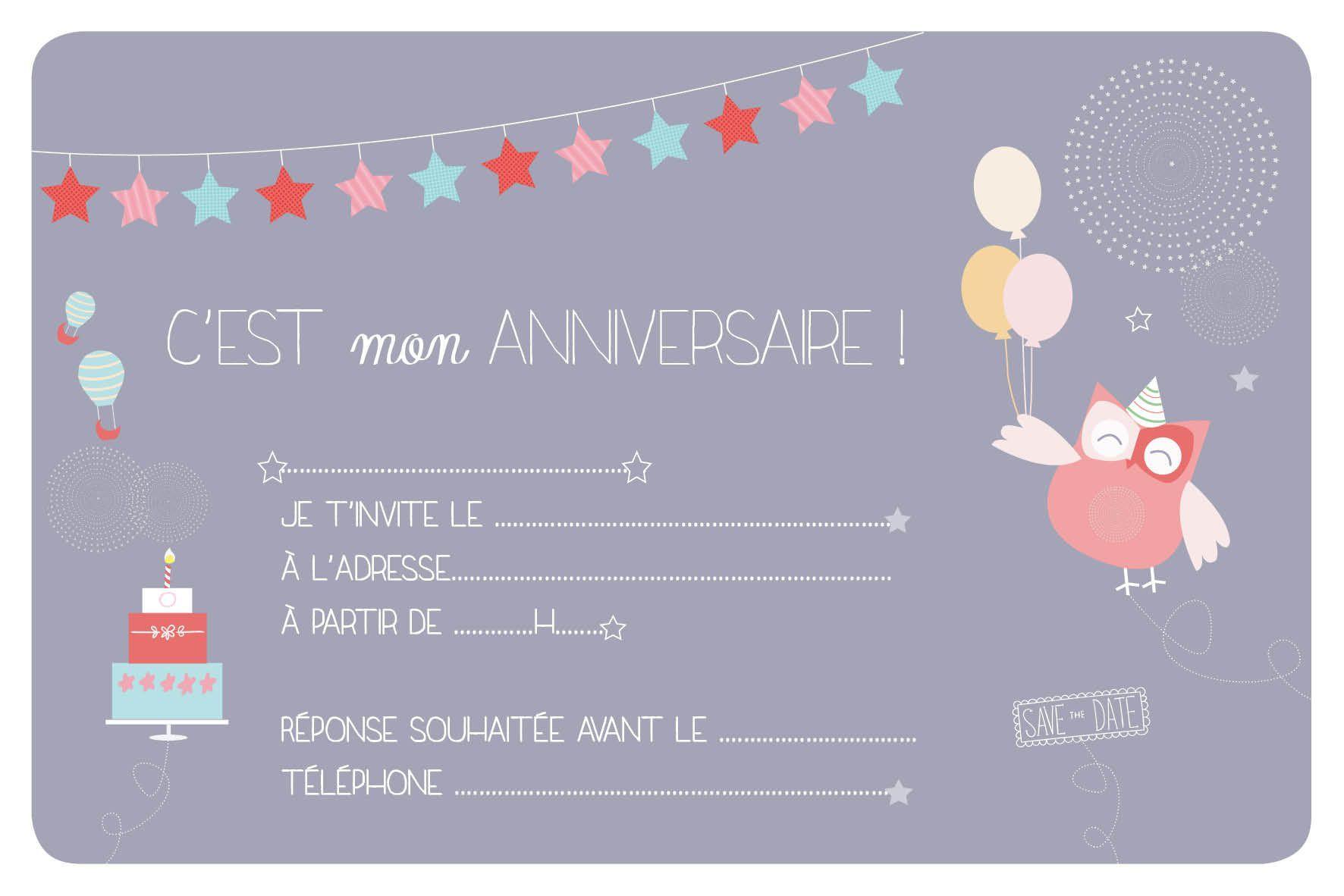 Carte d'invitation anniversaire avec photo a imprimer gratuit