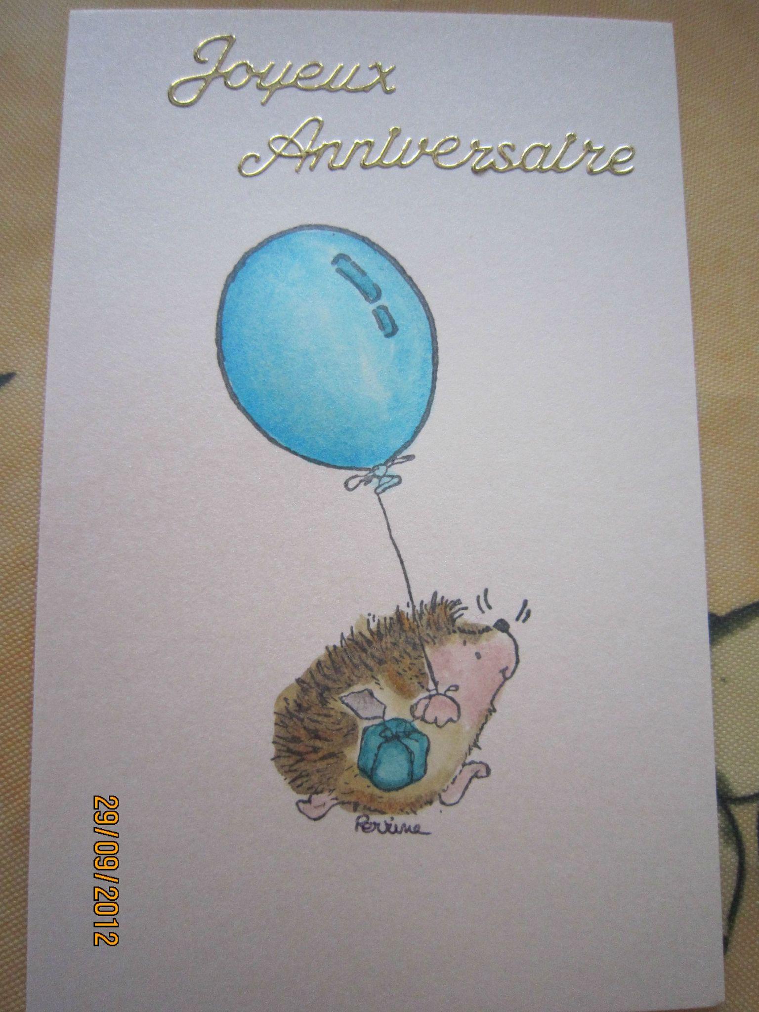 Carte anniversaire avec un hérisson