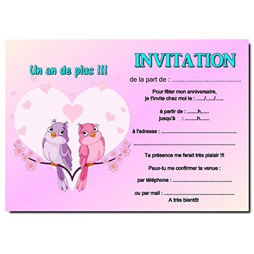 Carte d invitation anniversaire en coeur