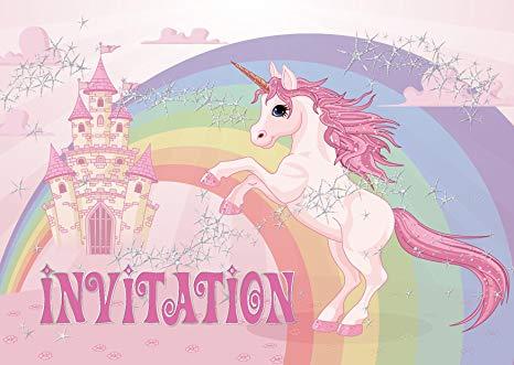 Carte d'invitation anniversaire licorne