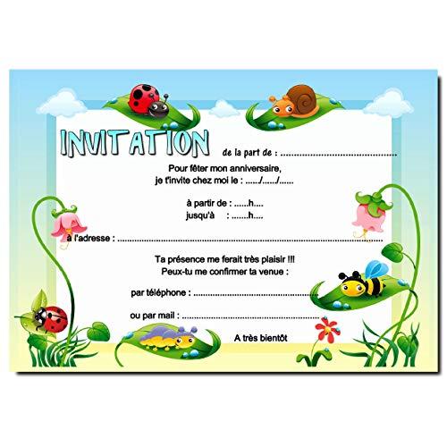 Carte invitation anniversaire coccinelle