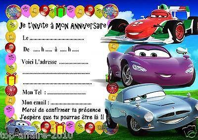 Carte invitation anniversaire cars