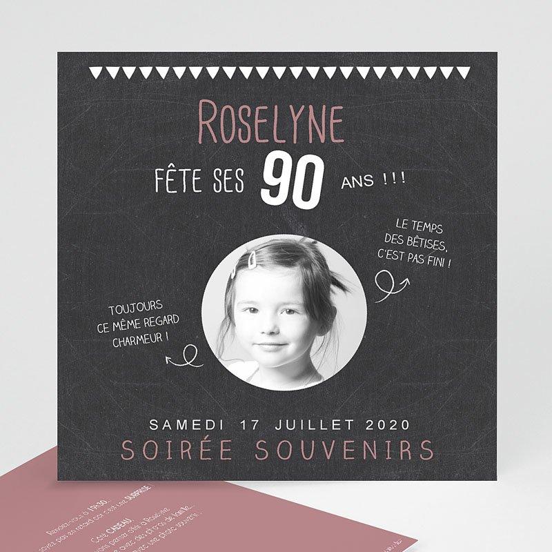 Carte d'invitation anniversaire 90 ans gratuite à imprimer