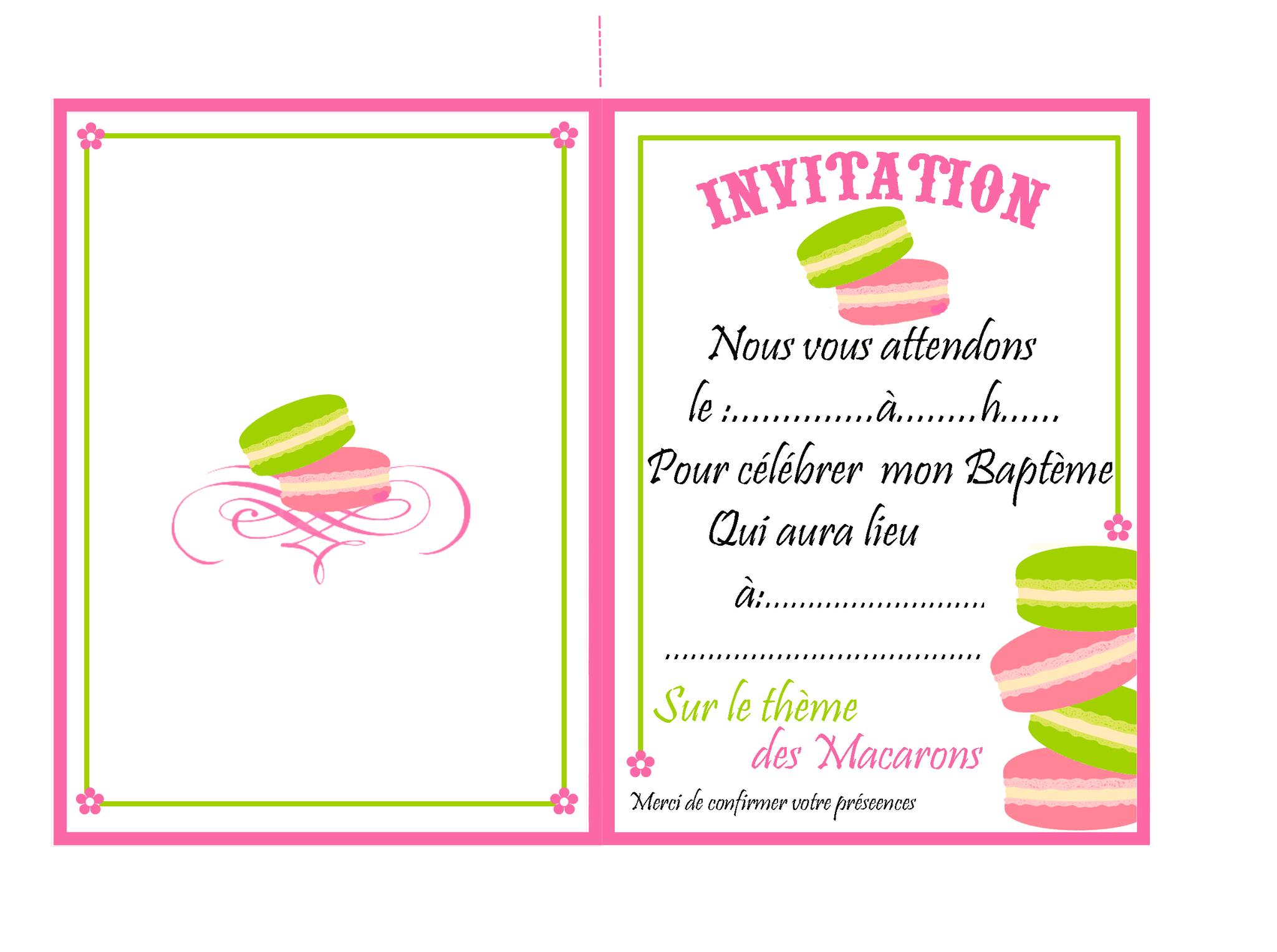 Carte d'invitation anniversaire a remplir