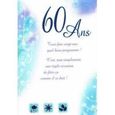 Idee de texte anniversaire 60 ans